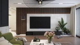 Rendering of the living roomin modern interior design. Wizualizacja salonu w projekcie nowoczesnego wnętrza. Projektowanie wnętrz